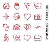 heart icons set. set of 16... | Shutterstock .eps vector #655057408