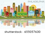 philadelphia skyline with color ... | Shutterstock . vector #655057630