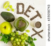 word detox is made from chia... | Shutterstock . vector #655058743