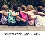 group of kindergarten kids... | Shutterstock . vector #655065319