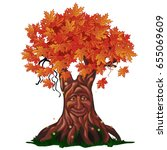 fantasy deciduous tree with... | Shutterstock .eps vector #655069609