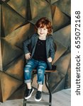 young cute boy in trendy... | Shutterstock . vector #655072168