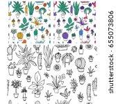 set of different plants  cactus.... | Shutterstock .eps vector #655073806