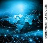 world map on a technological... | Shutterstock . vector #655077838