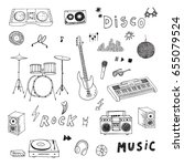 hand drawn doodle rock music...