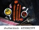 unhealthy food   grilled... | Shutterstock . vector #655082599