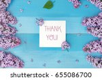 card with gratitude with spring ... | Shutterstock . vector #655086700