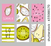 summer card  notebook with pear ... | Shutterstock .eps vector #655088170