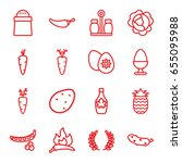 ingredient icons set. set of 16 ... | Shutterstock .eps vector #655095988