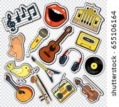 music doodle with guitar ... | Shutterstock .eps vector #655106164