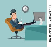 coffee break. businessman... | Shutterstock .eps vector #655106494