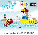 fisher on the boat get a big... | Shutterstock .eps vector #655113586
