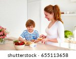 happy young mother and son... | Shutterstock . vector #655113658