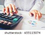 businessman's hands with... | Shutterstock . vector #655115074