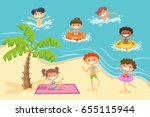 funny children playing at the... | Shutterstock .eps vector #655115944