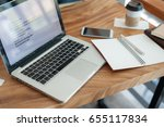 notebook and laptop computer on ... | Shutterstock . vector #655117834