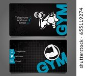 business card gym and fitness... | Shutterstock .eps vector #655119274