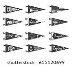 hand drawn adventure pennants... | Shutterstock . vector #655120699