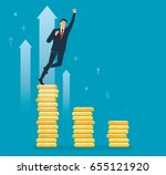 a businessman celebrating on...   Shutterstock .eps vector #655121920