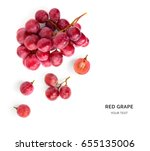 Creative layout made of red grape. Flat lay. Food concept.