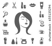 cosmetics and beauty icons. set ... | Shutterstock .eps vector #655135294