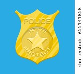 police officer badge. gold... | Shutterstock .eps vector #655141858