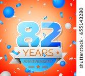 eighty two years anniversary... | Shutterstock . vector #655143280