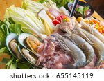 fresh food to make shabu .... | Shutterstock . vector #655145119