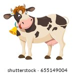 Stock vector cute cartoon cow illustration 655149004