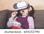 excited little girl... | Shutterstock . vector #655152790