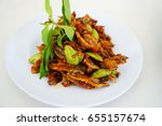 malaysian dish dried anchovy... | Shutterstock . vector #655157674