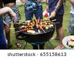 closeup of barbecues cooking... | Shutterstock . vector #655158613