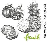 fruit pomegranate  kiwi ... | Shutterstock .eps vector #655158793