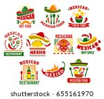 mexican cuisine icon set with... | Shutterstock .eps vector #655161970