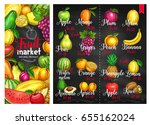fruit chalkboard poster. fruit... | Shutterstock .eps vector #655162024