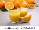 fresh orange juice with fruits... | Shutterstock . vector #655164679