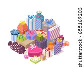 pile of colorful gift boxes.... | Shutterstock .eps vector #655169203