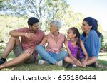 happy family interacting in the ... | Shutterstock . vector #655180444