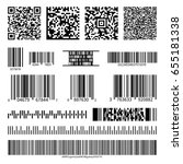 business barcodes and qr codes... | Shutterstock . vector #655181338