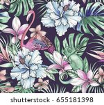 animals and tropical flowers.... | Shutterstock . vector #655181398