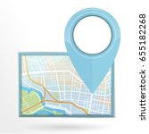 gps pin icon dropping on street ... | Shutterstock .eps vector #655182268