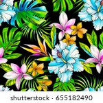 amazing seamless tropical... | Shutterstock . vector #655182490