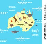 animals world map for children. ... | Shutterstock . vector #655184518