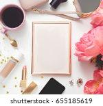image of top view of feminine...   Shutterstock . vector #655185619
