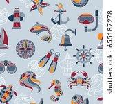 seaside vector seamless pattern ... | Shutterstock .eps vector #655187278