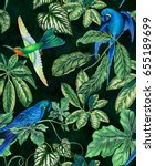 parrots in jungle. seamless... | Shutterstock . vector #655189699