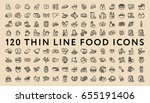 big set of 120 thin line stroke ... | Shutterstock .eps vector #655191406