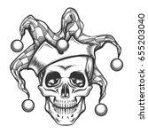 hand drawn jester skull in... | Shutterstock .eps vector #655203040