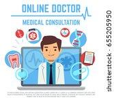 online doctor  internet... | Shutterstock . vector #655205950