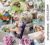collage set wedding bouquets.... | Shutterstock . vector #655212049